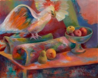 still life with pear and parrot by andrew michael dasburg