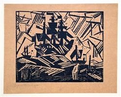 ship at sea (also titled marine by the artist; barke auf see) by lyonel feininger