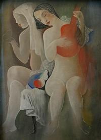 deux femmes à la guitare et aux fruits by béla kádár