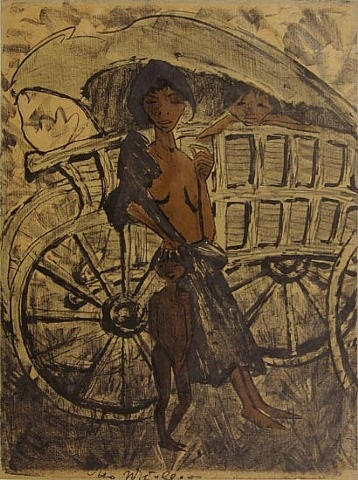 gypsy with child in front of covered wagon by otto mueller
