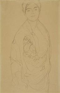 three-quarter length portrait of a standing woman by gustav klimt
