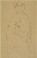 three-quarter length portrait of a standing woman by gustav klimt