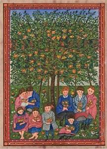 children seated under apple tree by josef karl rädler