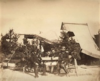 chalons encampment scene: lieutenant of champagny, le capitaine friant, the prince murat and colonel lepic by gustave le gray