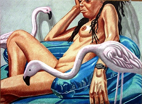 model with flamingo by philip pearlstein
