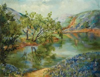 river scene with bluebonnets by annie lee andress