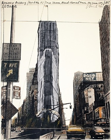wrapped building/project for building #1 times square, allied chemical tower-signed by christo and jeanne-claude