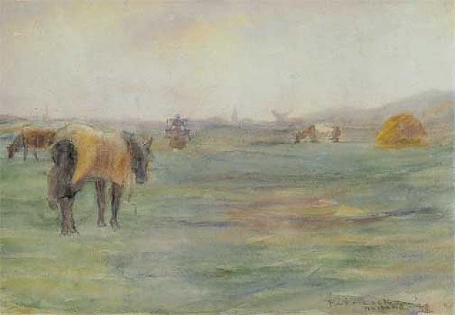 horse in field (holland) by frederick carl frieseke