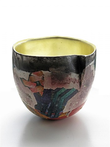 vessel with gold leaf by bennett bean