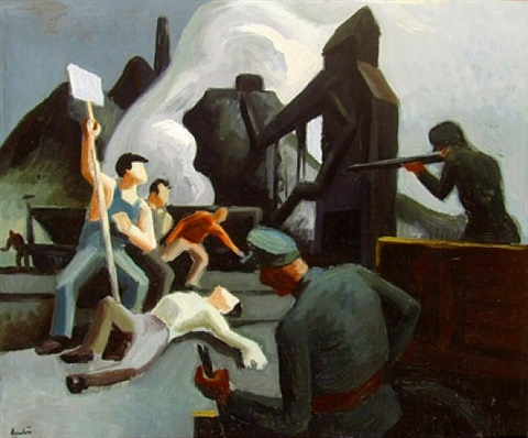 strike (waiting on verso) by thomas hart benton