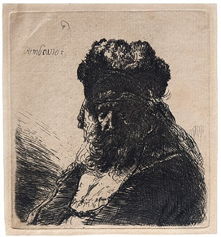 old bearded man in a high fur cap by rembrandt van rijn