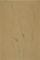 pregnant woman and man by gustav klimt