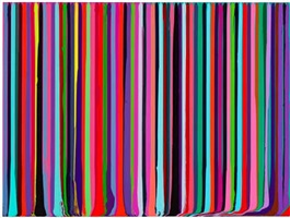 puddle painting: magenta, green by ian davenport