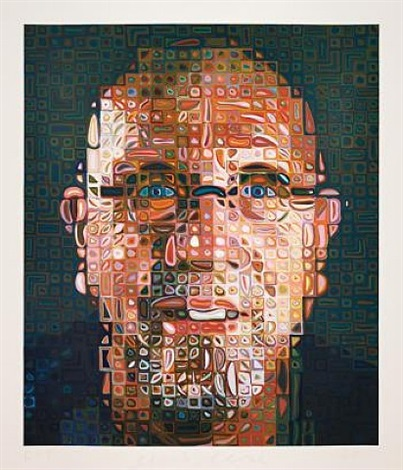 self portrait screenprint by chuck close