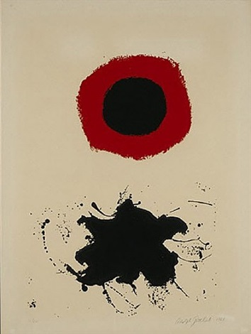 white ground-red halo by adolph gottlieb