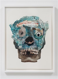 mosaic collage (winged warrior/helmet head) by nathan mabry