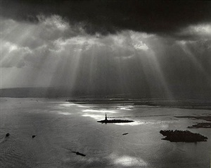 new york harbor (from the world trade center) by tom baril