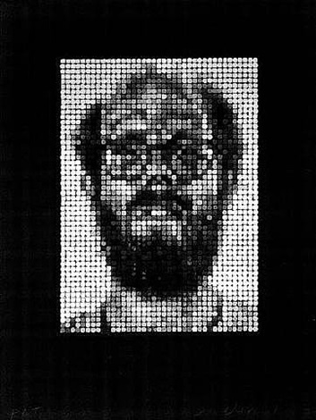 self-portrait/spitbite/white on black by chuck close