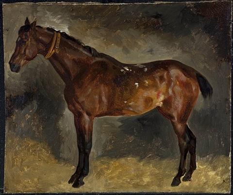 a brown horse, facing left by eugène delacroix