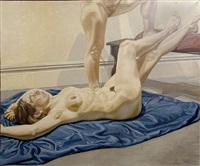 two models with blue drape by philip pearlstein