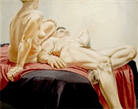 reclining male and female nudes on red and black drapes by philip pearlstein