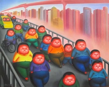 a bustling day by pan dehai