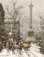 la place de la bastille sous la neige by eugène galien-laloue