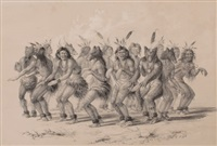 the bear dance, plate 18 (from the north american indian collection) by george catlin
