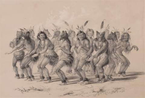 the bear dance plate 18 from the north american indian collection by george catlin