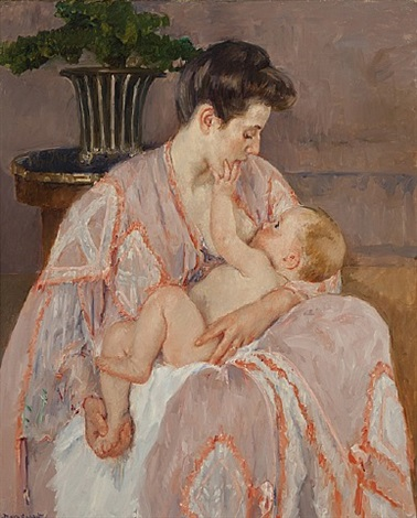 young mother nursing her child by mary cassatt