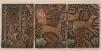 deer hunt triptych by tammy garcia