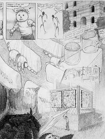 "dream drawing – ""i was at a college & found some packages…"" by jim shaw"