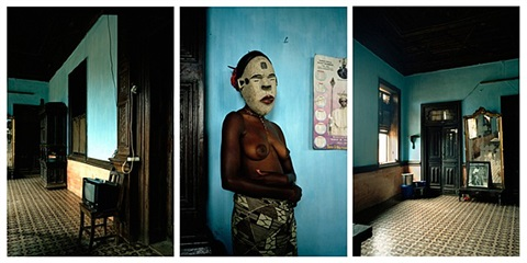 untitled triptych (demoiselles de porto-novo series) by leonce raphael agbodjelou