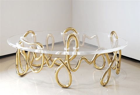 oval meander coffee table by mattia bonetti