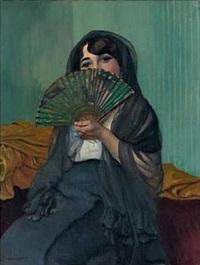 femme à l'eventail by félix edouard vallotton