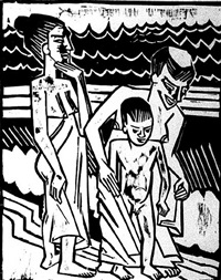 bathers with child by max pechstein