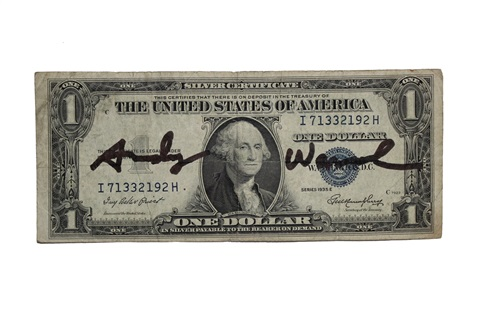 signed one dollar bill by andy warhol