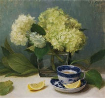 hydrangeas - harmony in blue and green by grace mehan devito