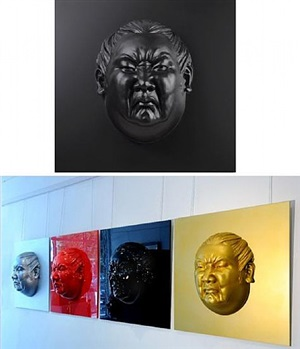 face 1 (x 4 red, black, silver and gold) by alexandra gestin