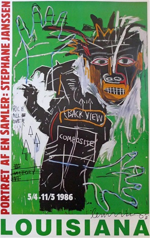 portrait of a collector stephane janssen with unique drawing by jean michel basquiat