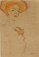 portrait of a woman with orange hat by egon schiele
