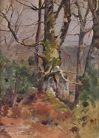 spring sunlight: forest of fontainebleau, france by theodore robinson