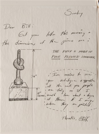 """letter to william copley about the sculpture """"the big change"""" by horace clifford westermann"""