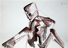 untitled rust series 18 (dejected man) by somnath hore