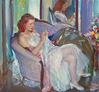 young lady sewing	 by richard edward miller