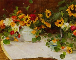 autumn still life with sunflowers (sold) by kathy anderson