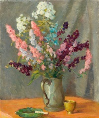 pewter mug with delphiniums by william chadwick