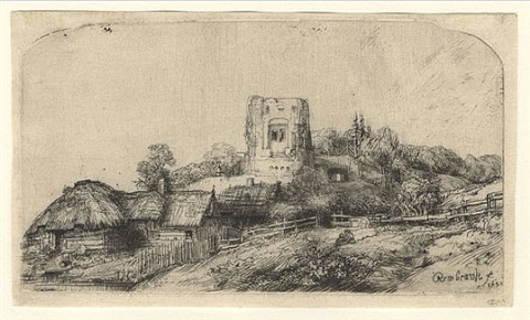 landscape with a square tower by rembrandt van rijn