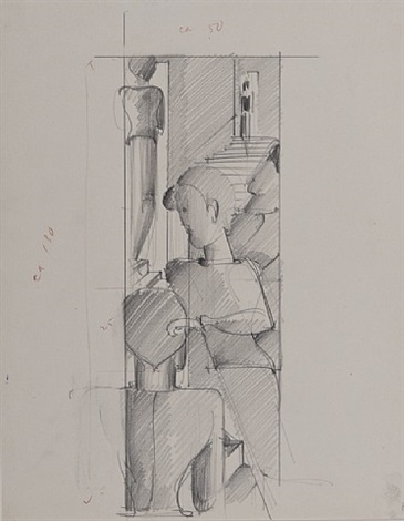 figurenkomposition mit treppe by oskar schlemmer