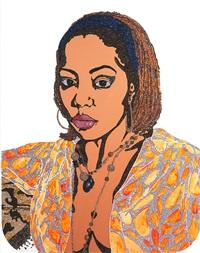 portrait of lovely six foota #1 (edition 12/50) by mickalene thomas